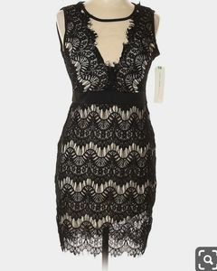 Almost Famous black and nude lace dress Sz M